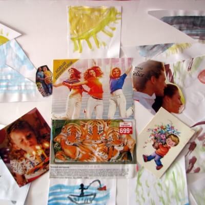 Арт-терапевтический коллаж с открытками и вырезками